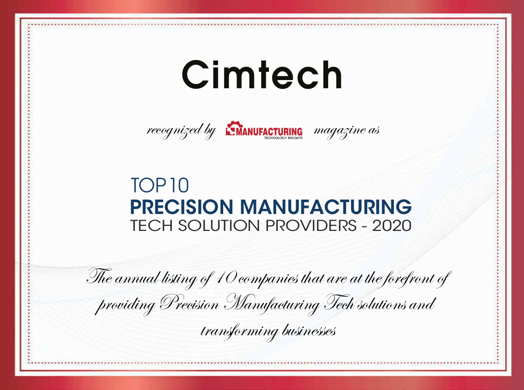 Top 10 Precision Manufacturing Tech Solution Providers 2020 Certificate